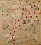 Dansende røde prikker, 43x36