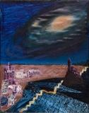 Himmelsyn med gylden trappe, 19x24